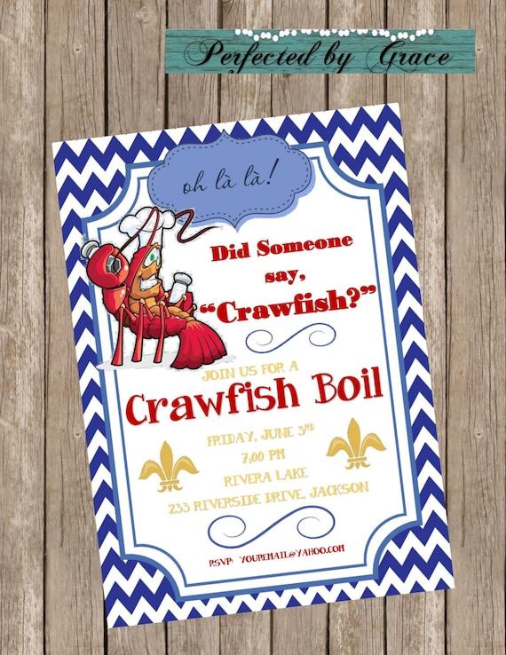 DIY Printable Crawfish Boil Invitation for Party Graduation