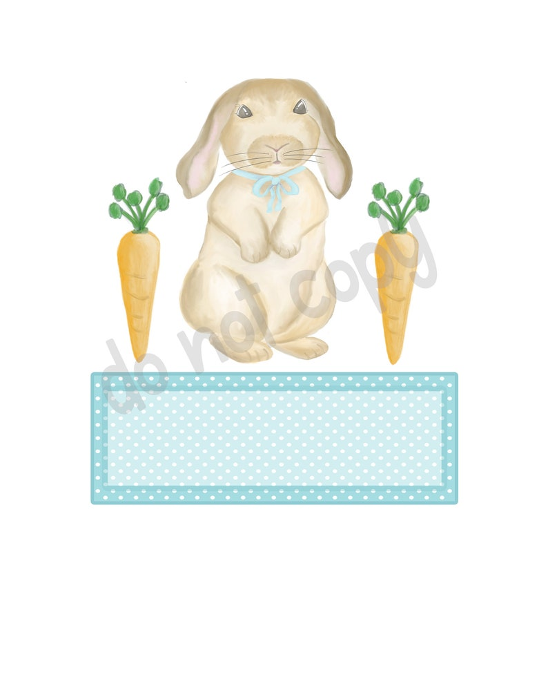 WATERCOLOR Rabbit Baby Showers Bunny and Carrots  with Name Plate Clip Art Set Easter Pillows Sublimation Great For Tshirts