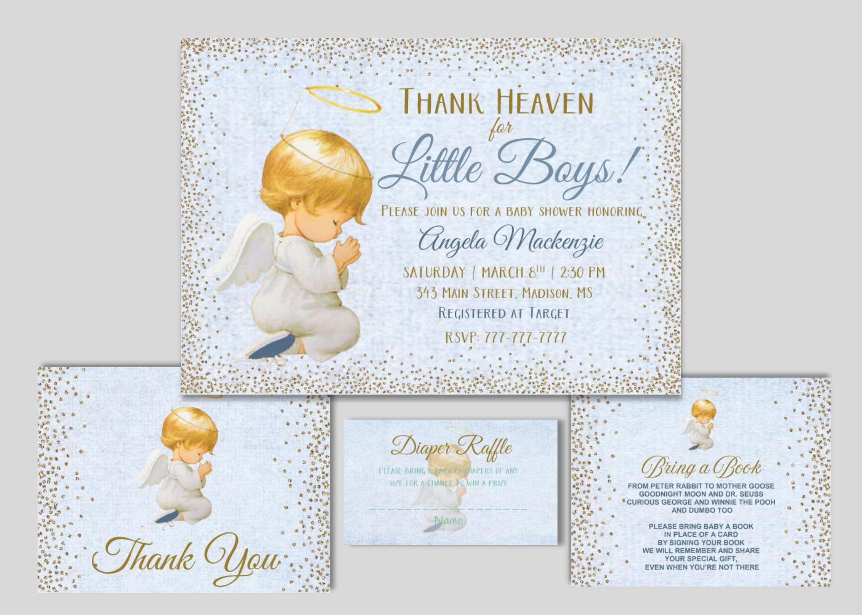 Thank Heaven for Little Boys Baby Shower Invitation | Add-Ons Available |  Angel Invitation
