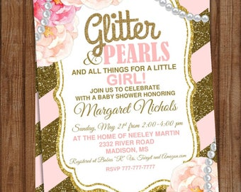 DIY Printable Baby Shower It's a Girl | Glitter and Pearls |Gold Glitter | Peonies | Pink and Gold