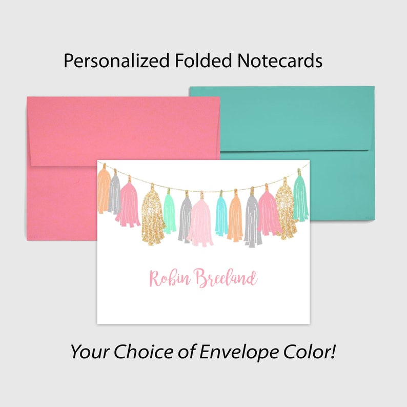 Envelope Choice Pink or Aqua Adorable Personalized Folded Note Cards Great Teacher Gift 5.5 inch x 4 inch Customized Gift