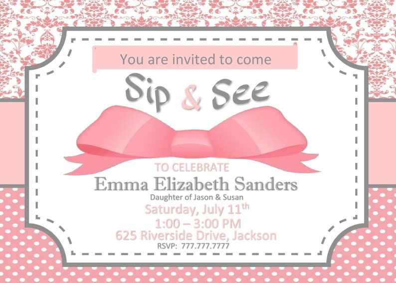 Sip and See or Shower Invitation for Baby Girl Wording Can Be Changed to Fit