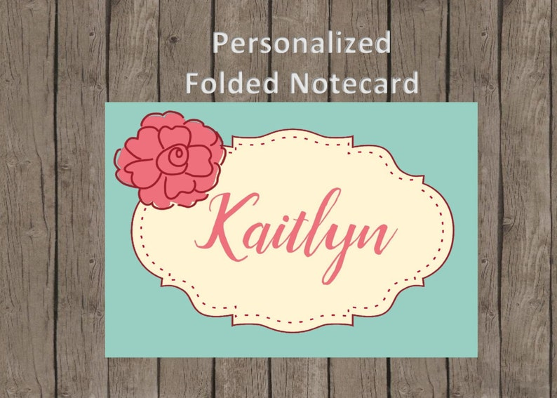 Notecards Teal and Pink Package of 12 Personalized Cards Folded Notecards Flower Thank you Cards Gifts