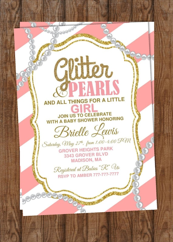 Baby Shower Girl Baby Shower Glitter And Pearls All Etsy