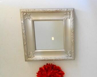 Silver Wall Mirror Ornate Wall Mirror Small Square Mirror Small Mirror for Wall Decor Silver Mirror Frame Ornate Mirror for Wall Hanging