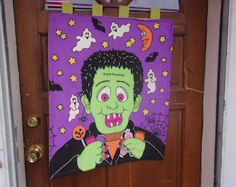 Frankenstein door panel Halloween door decoration glow in the dark Halloween banner home decor vintage fabric Halloween banner & Frankenstein door | Etsy