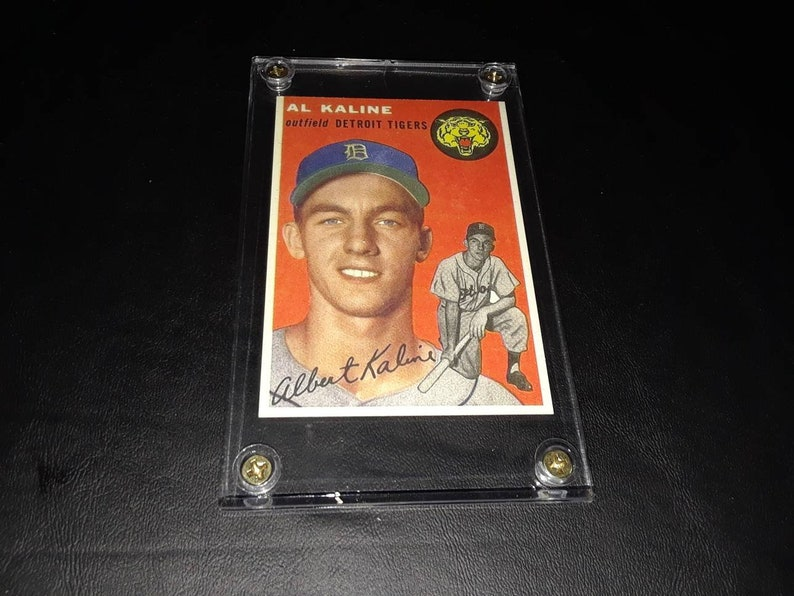Al Kaline 1954 Topps 201 Reprint In Display Case Free Mickey Mantle Rookie Card See Pics