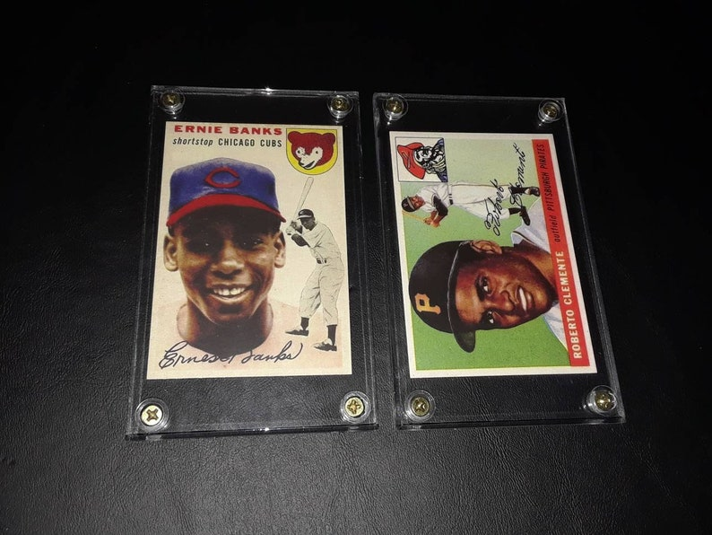 Roberto Clemente And Ernie Banks Reprint Rookie Card Display