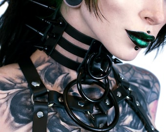 DSF Spike Waterfall Cage Collar - Strap Black Leather Bondage 3 O Ring Sub Dom Goth Classic Posture You Pick color Gray White Black Chrome