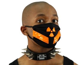 DSF Reflective & Vinyl Surgical Mask-  Symbol Rave Respirator Black and neon Red Orange Yellow Green Blue Purple Pink White Brown Black