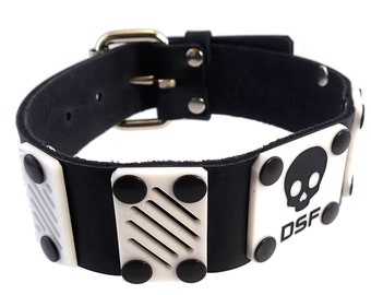 DSF LIMiTED EDITION Dissipate Plate Collar - Real Leather Choker - Plastic Acrylic Cyberpunk Cybergoth White Black Skull Pirate Death