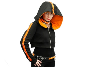 DSF D-Ring Crop Hoodie - Gothic Industrial Dhrug Deep Hood Black Futurewear - Cyberpunk (Color & Size Options Available)