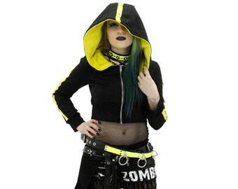 DSF D-Ring Crop Hoodie - Gothic Industrial Dhrug Deep Hood Black Futurewear Cyberpunk Cybergoth Neon Yellow (Color & Size Options Available)