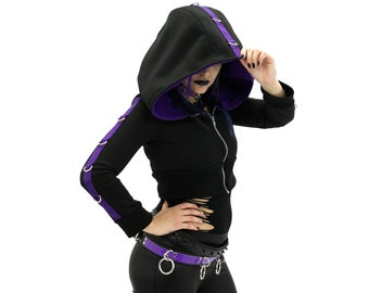 DSF DSFusion D-Ring Crop Hoodie - Gothic Industrial Futurewear - Cyberpunk Crop Hoodie (Color & Size Options Available)