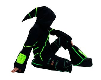 DSF Cyber Mage Hoodie - Gothic - Industrial - Futurewear - Cyberpunk DSFusion Wizard (Color & Size Options Available) Neon Green Lime