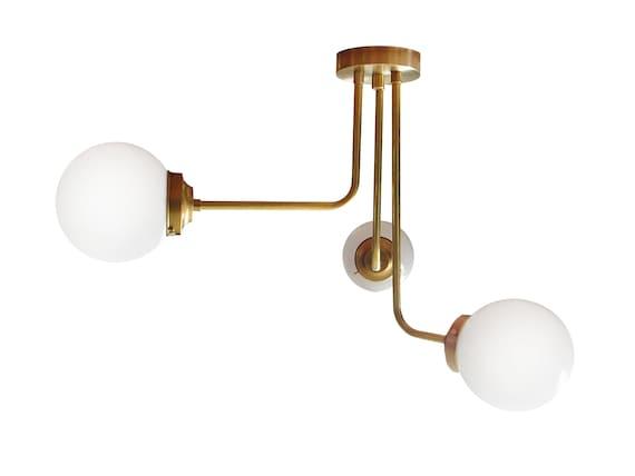 Flush Mount Ceiling Light Modern Brass Globe Orb Shades Asymmetrical Cluster Fixture