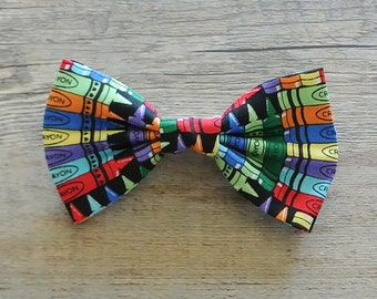 Crayon, Crayon Bow Tie, Colorful, Rainbow, School Crayon, Kids Bow Tie, Hairbow, Mens Bow Tie, Toddler Bow Tie, Hair Accessories