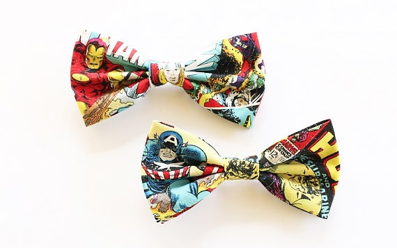 Marvel Comics, Marvel, Marvel Bow, Spiderman, Wolverine, Thor, Hulk, Iron Man, Avengers, Bow, Marvel Tie, Bow Tie, Bowtie, Mens Bow Tie