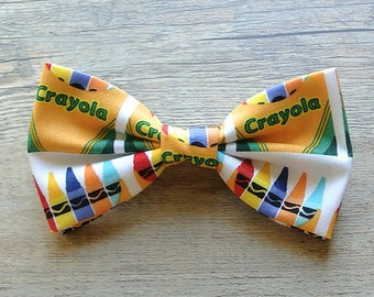 Crayon Bow, Alphabet, Colorful, Rainbow, School Crayon, Teacher Bow, Kids Bow Tie, Hairbow, Mens Bow Tie, Toddler Bow Tie, Hair Accessories