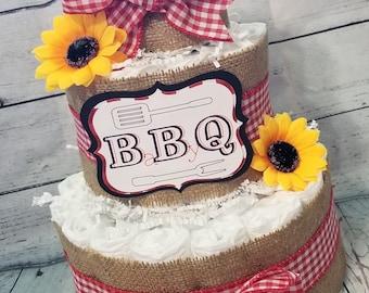 3 Tier Diaper Cake - BBQ Baby Q Diaper Cake - Burlap and Red Checker Diaper Cake Fall Theme Baby Shower Centerpiece