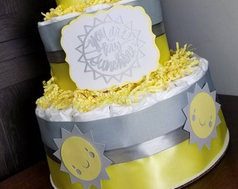 You are my Sunshine Theme Yellow and Gray Diaper Cake 3 Tier Diaper Cake