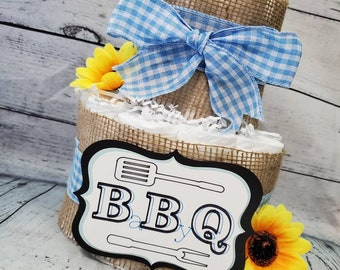 2 Tier Diaper Cake - BBQ Baby Q Diaper Cake - Burlap and Blue Checker Diaper Cake Fall Theme Baby Shower Centerpiece