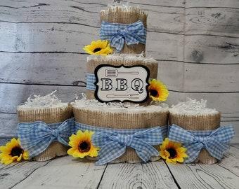 3 Tier Diaper Cake and mini 3 piece set - BBQ Baby Q Diaper Cake - Burlap and Blue Checker Diaper Cake Fall Theme Baby Shower Centerpiece