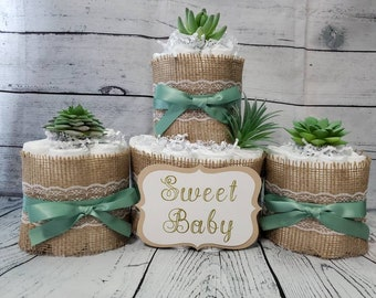 2 Tier Diaper Cake and mini 3 piece set - Succulent theme Eucalyptus Green with Burlap Diaper Cake for Baby Shower / Neutral Shower