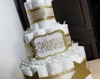 3 Tier Diaper Cake - Twinkle Twinkle Gold and White Neutral Diaper Cake - Baby Shower Diaper Cake Centerpiece - Twinkle Diaper Cake