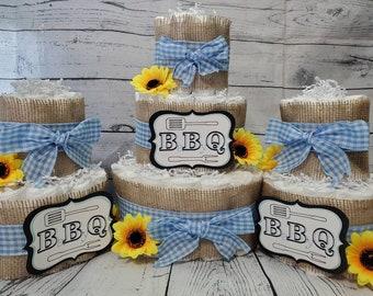 3 Tier Diaper Cake 3 piece set - BBQ Baby Q Diaper Cake - Burlap and Blue Checker Diaper Cake Fall Theme Baby Shower Centerpiece
