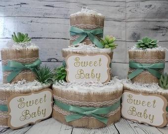 3 Tier Diaper Cake 3 piece set - Succulent theme Eucalyptus Green with Burlap Diaper Cake for Baby Shower / Neutral Shower Centerpiece / Cus