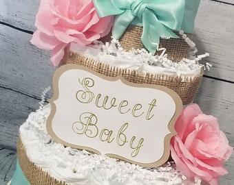 3 Tier Diaper Cake - Shabby Chic Diaper Cake / Mint and Pink Diaper Cake / Sweet Baby Diaper Cake / Vintage Burlap Diaper Cake / Flower Cake