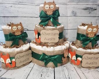 3 Tier Diaper Cake 3 piece set - Adventure Awaits Woodland Theme - Green and Brown Fox Deer Owl Baby Shower Centerpiece