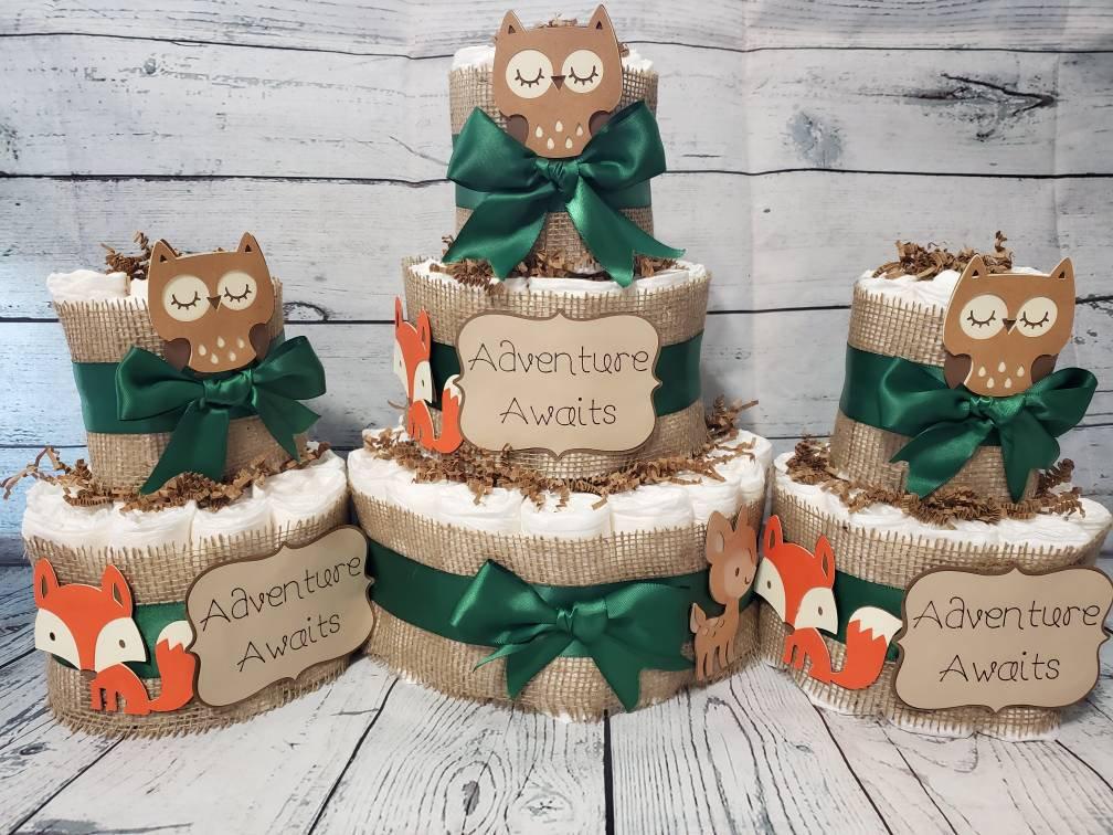 Large Fox Woodland animals diaper bassinet baby shower gift basket or centerpiece