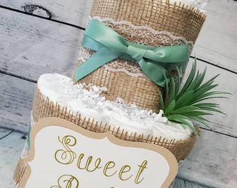 2 Tier Diaper Cake - Succulent theme Eucalyptus Green with Burlap Diaper Cake for Baby Shower / Neutral Shower Centerpiece / Customized Cake