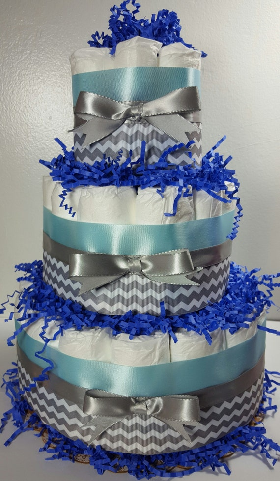 3 Tier Diaper Cake Light Bluesilver Chevron Boy Baby Etsy