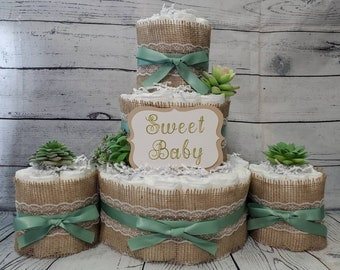 3 Tier Diaper Cake and mini 3 piece set - Succulent theme Eucalyptus Green with Burlap Diaper Cake for Baby Shower / Neutral Shower