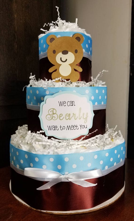 3 Tier Diaper Cake Owl Green Brown Baby Shower Gift Centerpiece