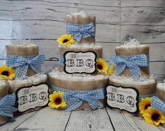 3 Tier Diaper Cake 5 piece set - BBQ Baby Q Diaper Cake - Burlap and Blue Checker Diaper Cake Fall Theme Baby Shower Centerpiece