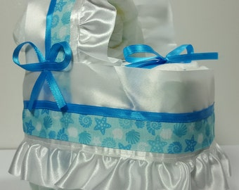 Blue White Seashells Diaper Bassinet Baby Shower Gift Table Decoration Centerpiece