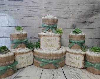 3 Tier Diaper Cake 5 piece set - Succulent theme Eucalyptus Green with Burlap Diaper Cake for Baby Shower / Neutral Shower Centerpiece