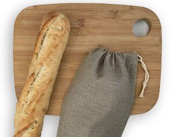 Reusable Linen Bread Bag Zero Waste Gift Handprinted Linen Bag for 2 Baguettes French Bread Storage