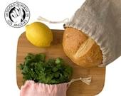 Linen Bread Bag, Reusable Produce Bag, Market Bag, Zero Waste, Linen, Food Storage, Made in USA, Bread Baking Gift, Drawstring Bag Set