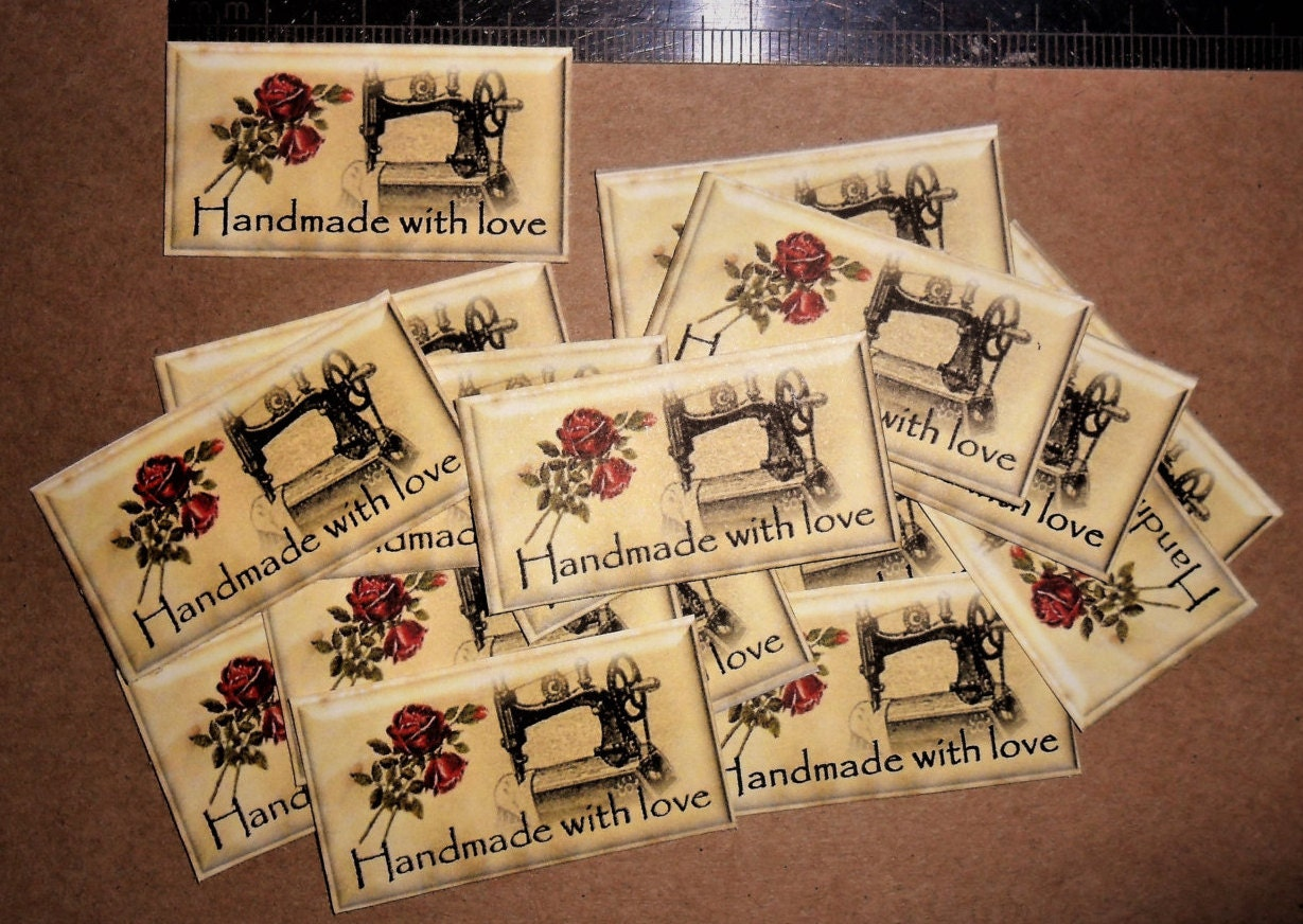 20 Vintage Sewing Theme Labels Handmade With Love Etsy