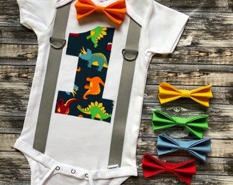 Boys First Birthday Dinosaur Cake Smash Outfit Personalized Dino 1st Party Onesie