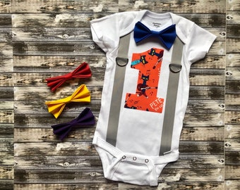 dc4757adcf5e78 Boy's Pete the Cat first birthday onesie/ personalized cake smash outfit  with bow tie and suspenders
