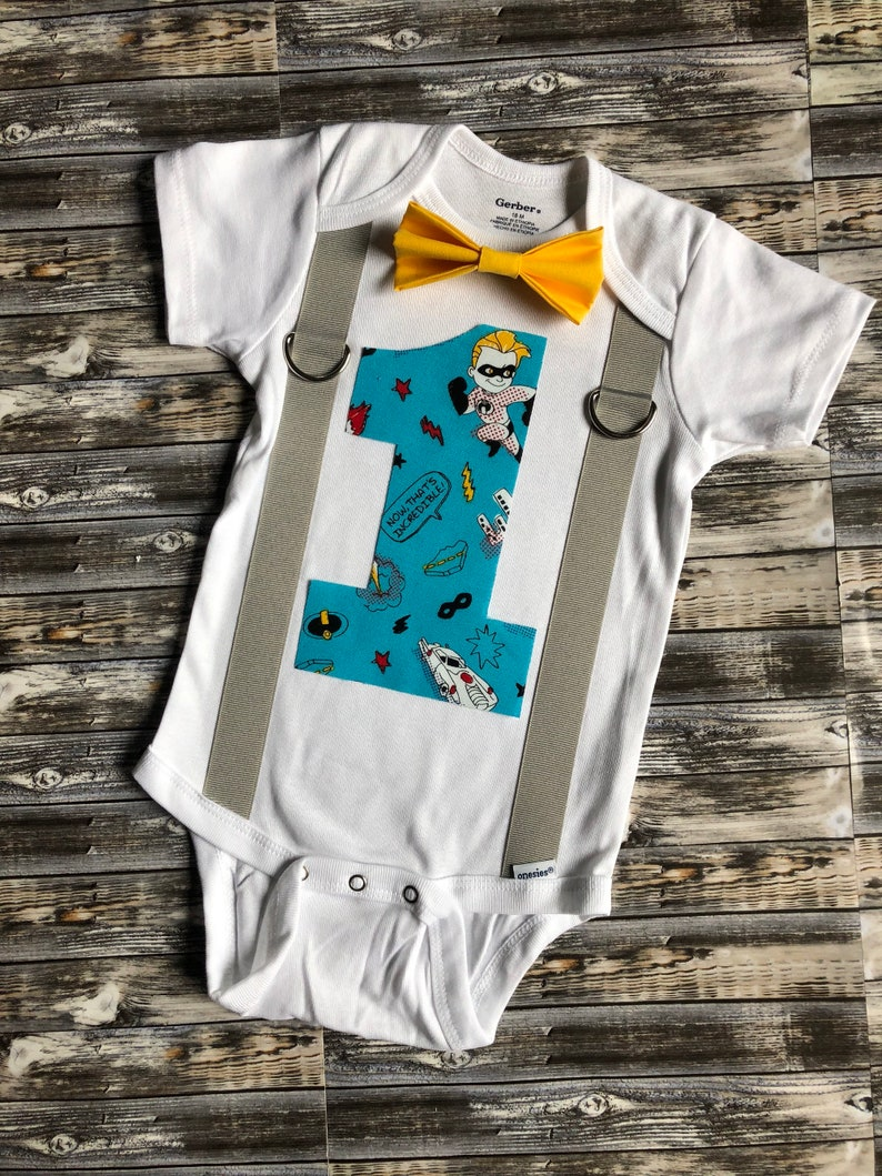 The Incredibles first birthday boys cake smash outfit the incredible one 1st birthday personalized onesie