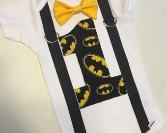 Batman first birthday onesie with bow tie and suspenders