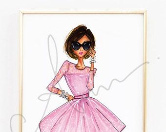 "Fashion Illustration, The Pink Dress Print, 8x10"""