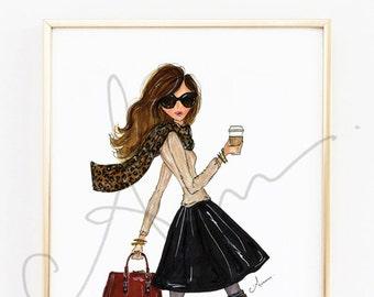 "Fashion Illustration Print, The Fall Girl, 8x10"""